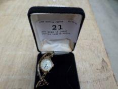 9ct gold 15 jewel Unitas ladies watch