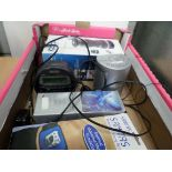 Box of small electricals including coffee grinder, ION air cleaner, abdominal toning belt and 2