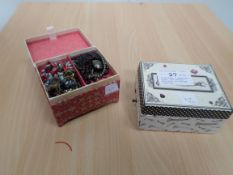 2 children's jewellery boxes, one musical, both full of costume jewellery
