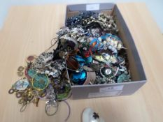 Box of costume jewellery including spares and repair