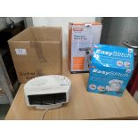Box of 3 small electrical items, Kobe fan heater, Easy Stitch and Vax window cleaner