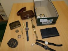 Box of watches, jewellery and cameras