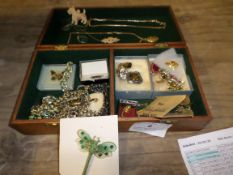 Wooden box of assorted costume jewellery