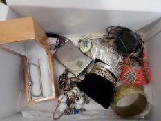 Box of costume jewellery including Pandora bracelet