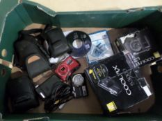 Box with Nikon and other cameras