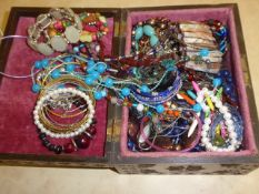 Wooden box of jewellery
