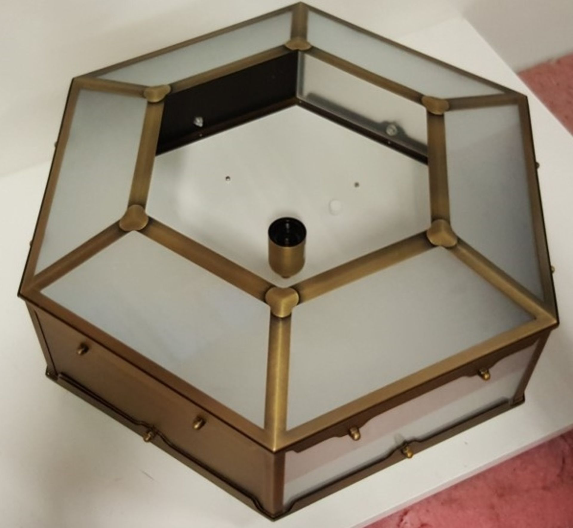 Lot 3086 - 1 x Chelsom Flush Fitting Hexagonal Shaped Light Fitting In A Antique Brass Finish - REF:J2376