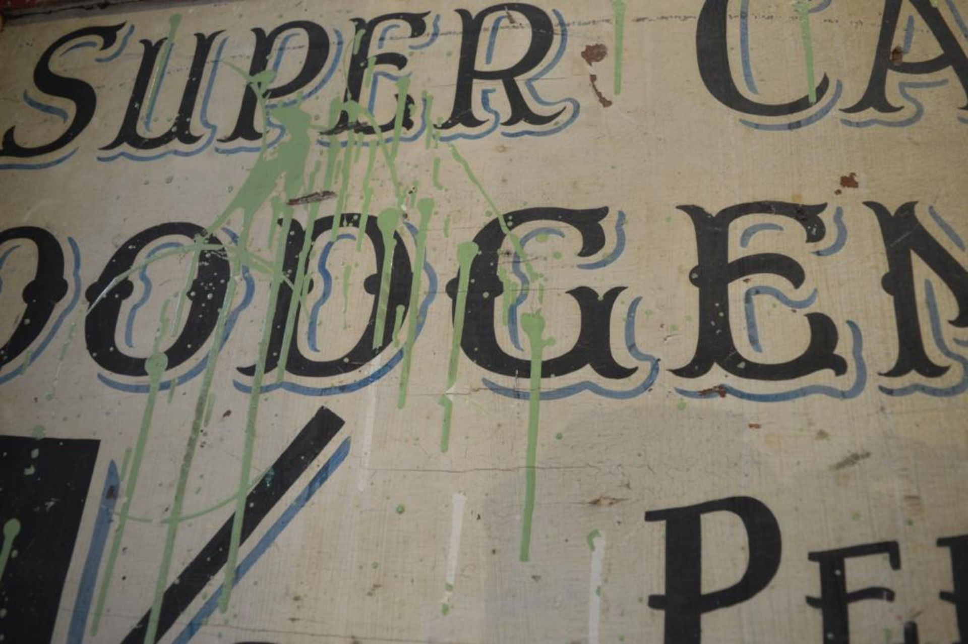 "Lot 3076 - 1 x Vintage Hand Painted ""Super Car Dodgems 1 Shilling Per Car"" Fairground Sign - 34 x 23 Inches -"