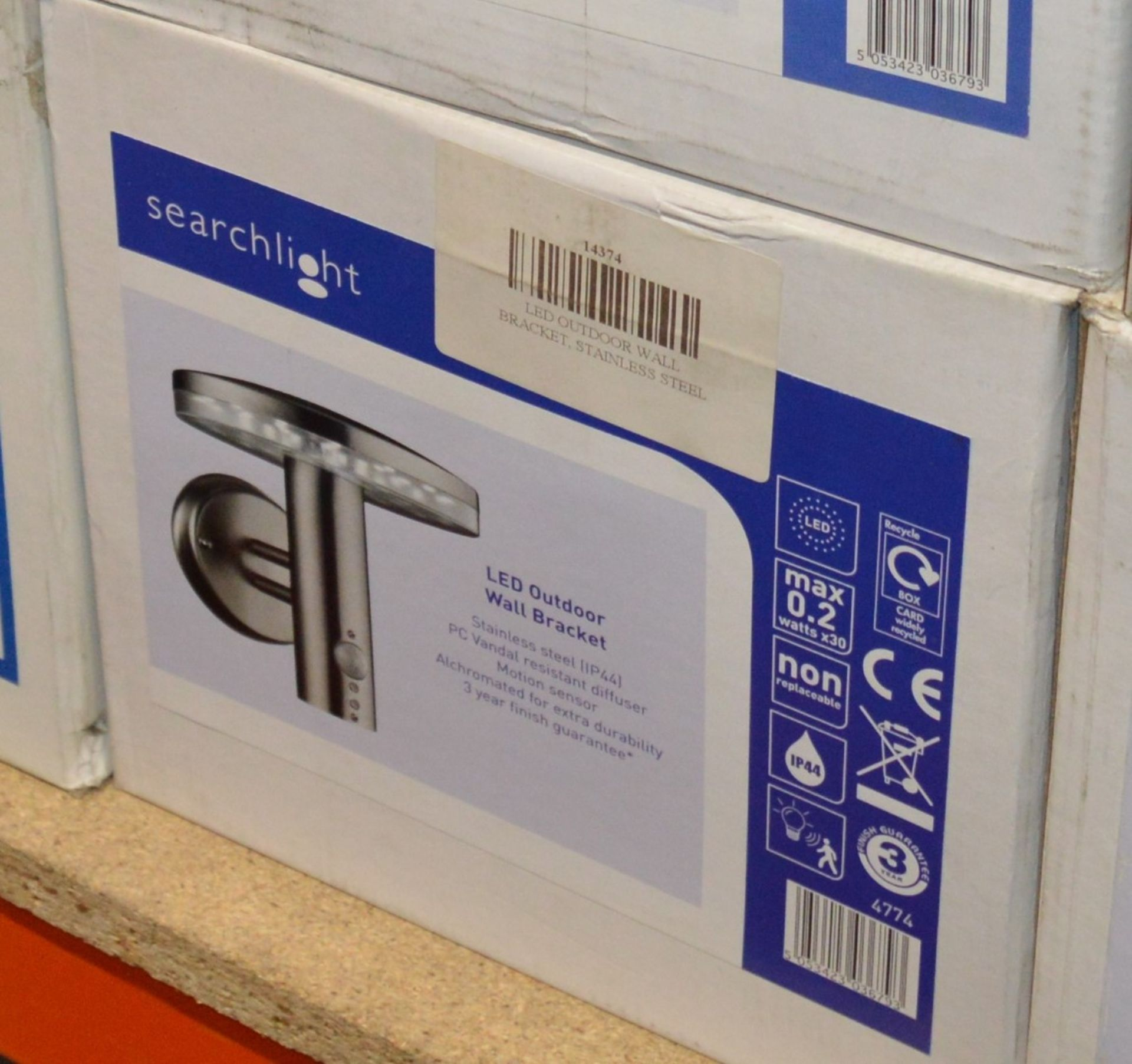 Lot 9160 - 2 x SearchlightOutdoor LED Wall Lights in Brushed Chrome IP44 - Product Code 4774 - New Boxed