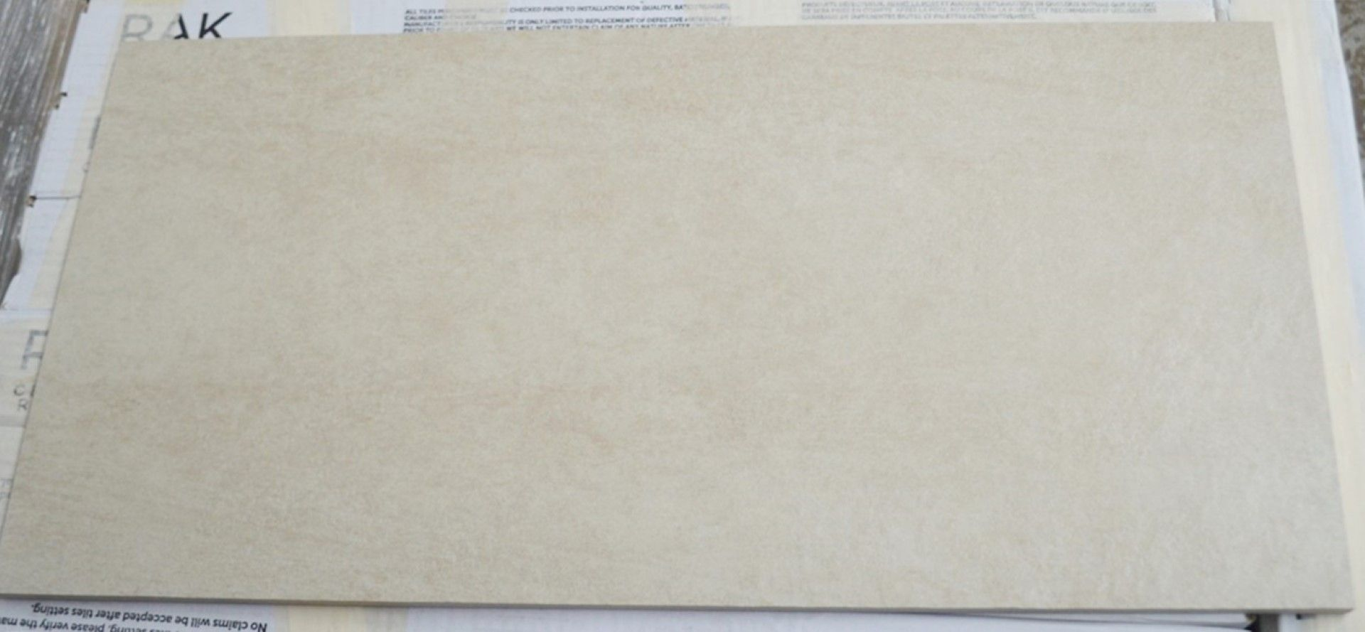 Lot 2556 - 6 x Boxes of RAK Porcelain Floor or Wall Tiles - Concrete Sand Design Design in Beige - 30 x 60 cm