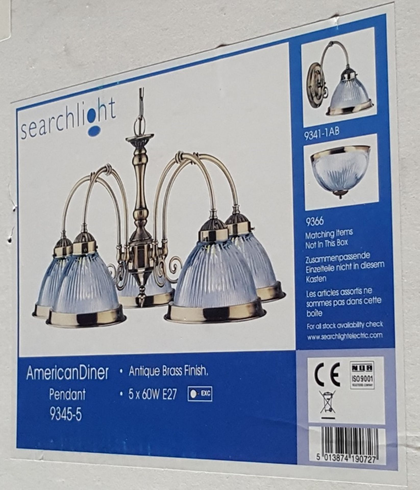 Lot 9096 - New In Box SEARCHLIGHT 9345-5 American Diner 5 Light Ceiling Light Antique Brass - CL323 - REF:CQ332