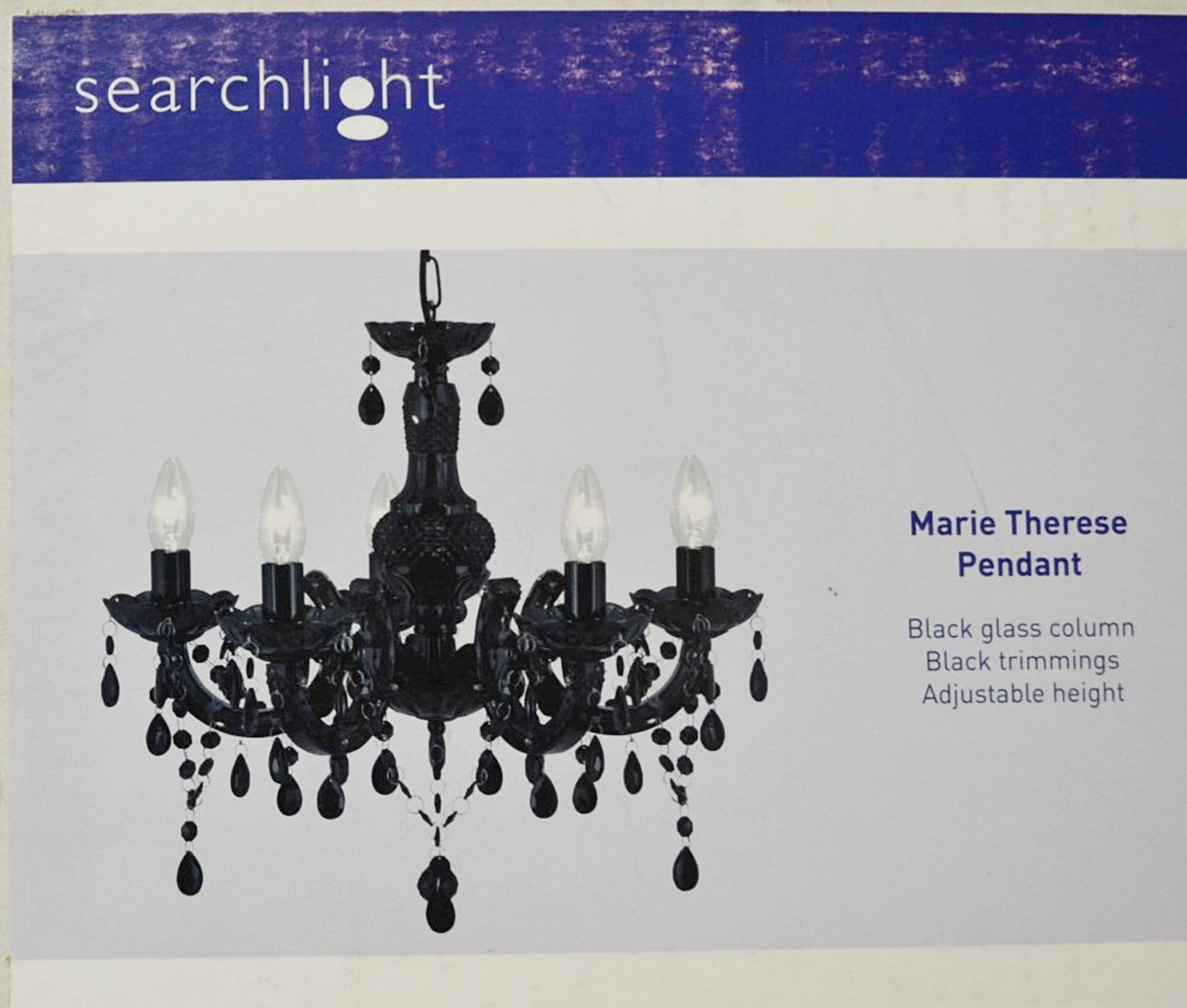 Lot 9150 - 1 x Searchlight Marie Therese Black Acrylic 5 Light Chandelier With Acrylic Glass Drops - Boxed
