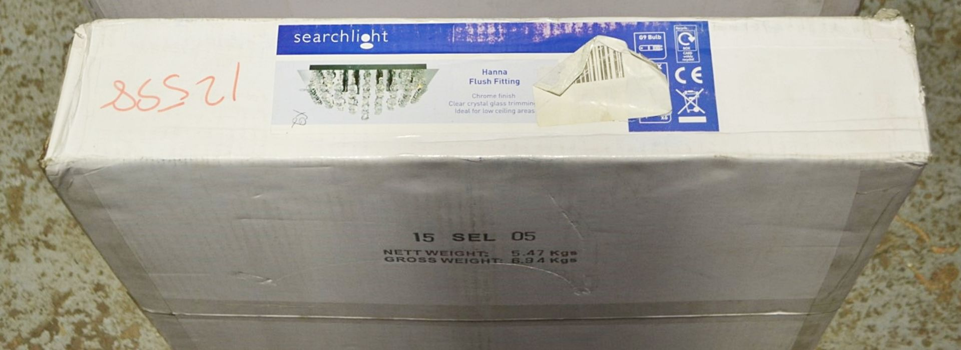 Lot 9024 - 1 x Searchlight Hanna Chrome 6-Light Square Semi-Flush With Crystal Balls - Product Code - New Boxed