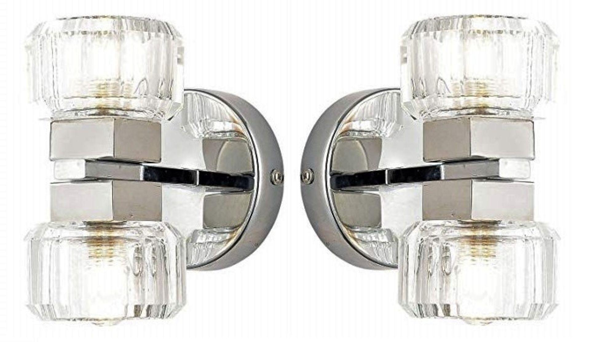 Lot 9162 - 2 x Spa Bathroom Lighting Octan Twin Light Wall Lights - Chrome With Glass Shades - Product Code