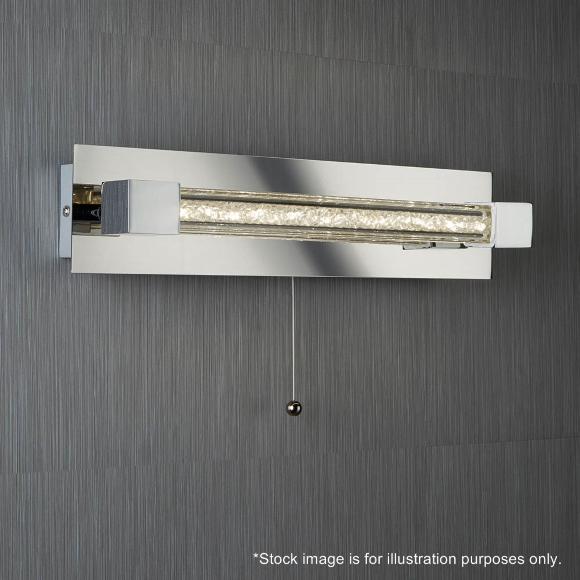 Lot 9186 - 1 x Searchlight Chrome LED Bathroom / Kitchen Wall Light with Clear Crystal Glass Bar - IP44- Boxed