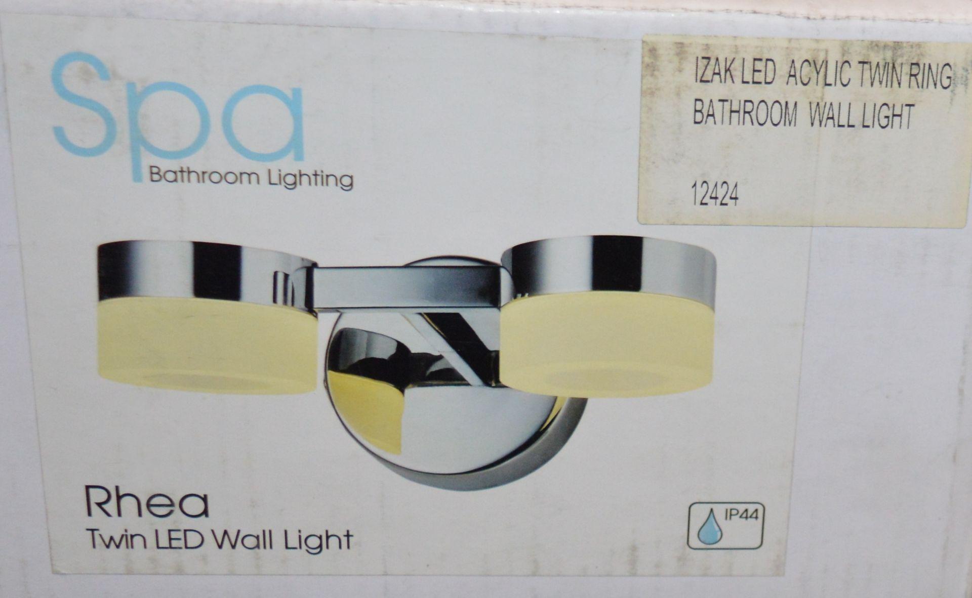 Lot 9142 - 2 x Spa Bathroom Lighting RHEA Twin LED Wall Lights With Acrylic Ring Shades and Chrome Finish -