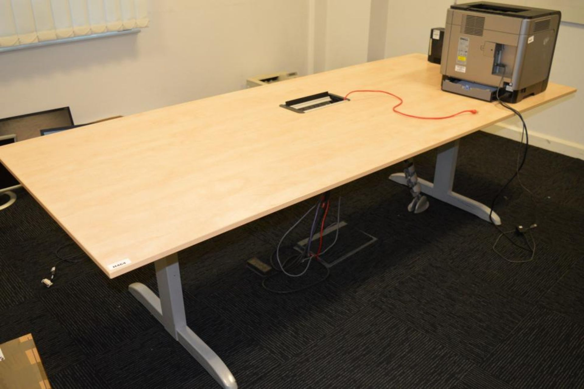 Lot 3532 - 1 X BOARDROOM MEETING TABLE WITH BIRCH FINISH AND CENTRAL CONNECTIVITY SOCKETS -H73 X W240 X D100CM
