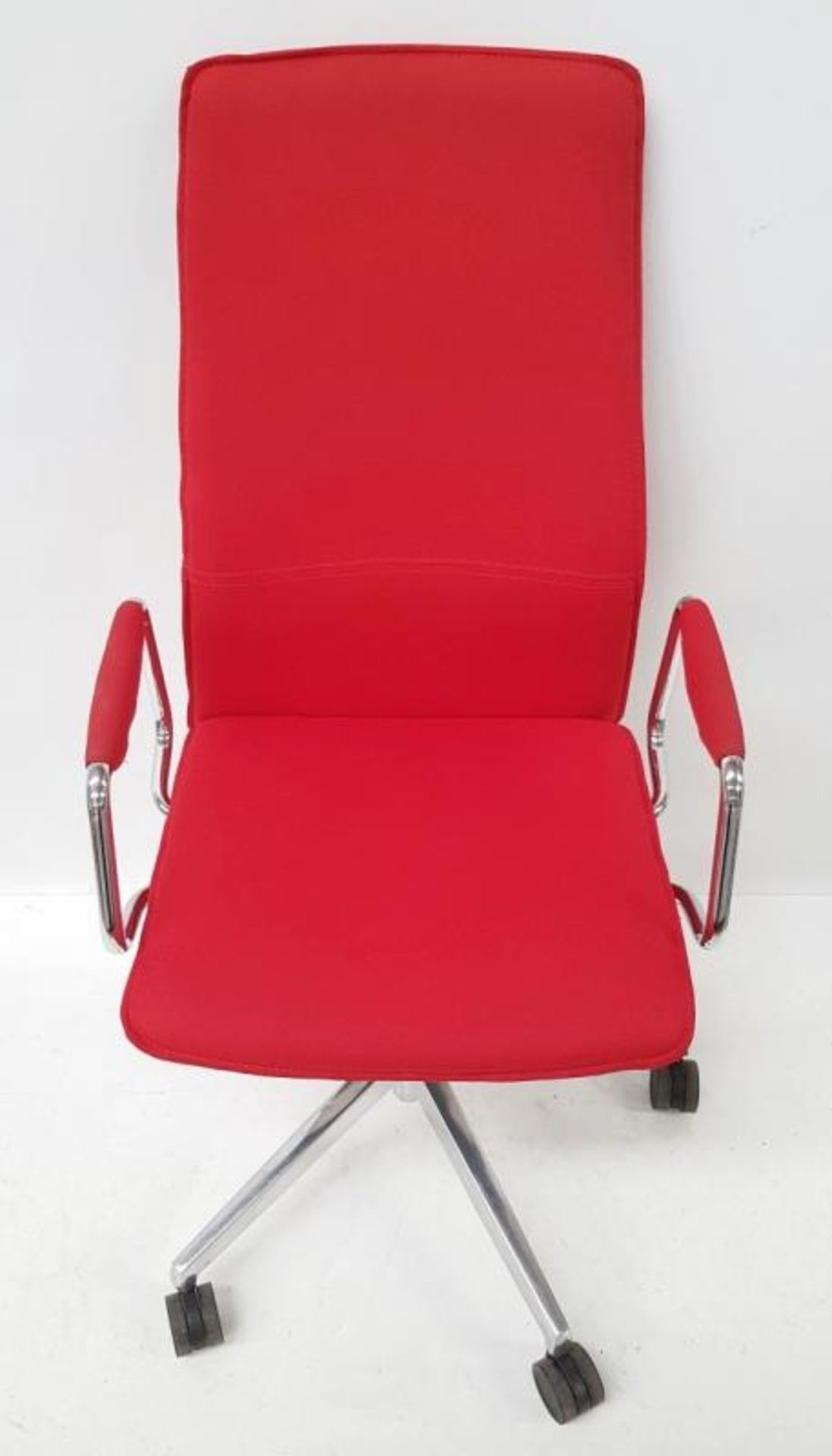 Lot 3508 - 1 x 'Sven Christiansen' Premium Designer High-back Office Chair In Red (HBB1HA) - Used, In Very Good