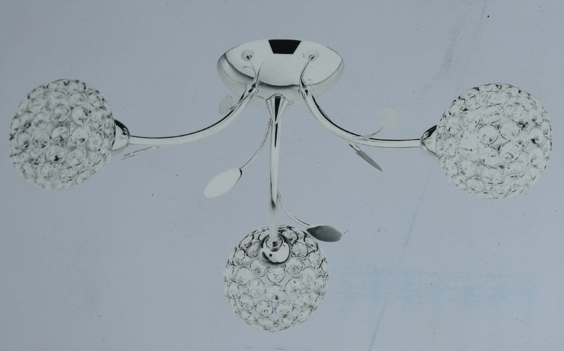 Lot 9042 - 2 x Bellis II Semi Flush Ceiling Lights - Chrome Finish With Sphere Shades and Crystal Glass Buttons
