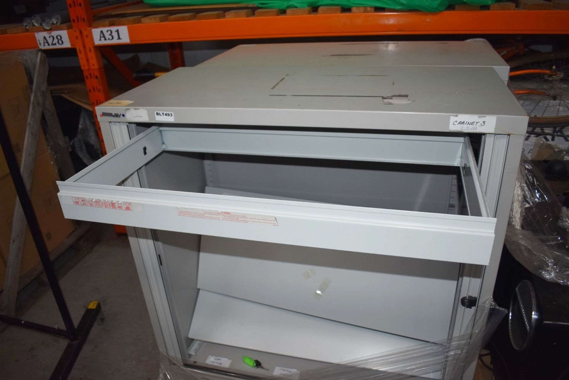 Lot 3533 - 2 x Bisley Sliding Door Office Storage Cabinets With Shelves and File Rail - Keys Included - H101