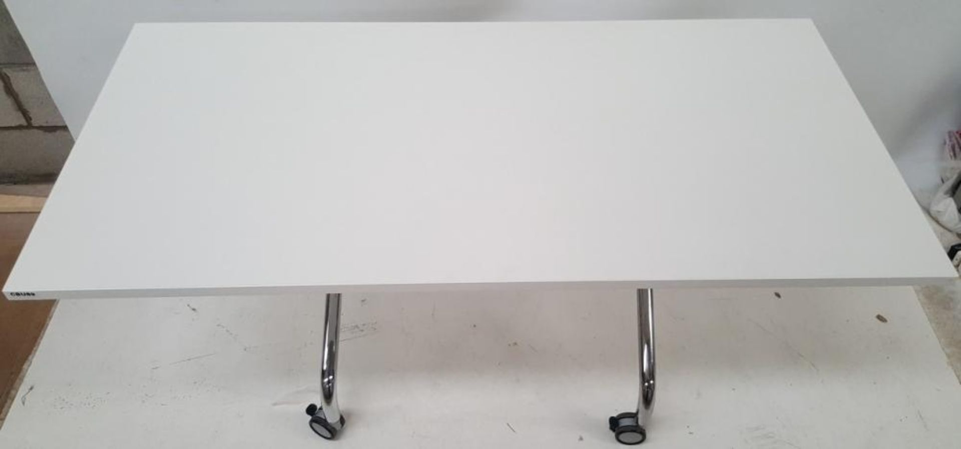 Lot 3512 - 1 x Large Premium Office Table With Folding Top - Colour: Brilliant White With Chrome Legs - Dimensi