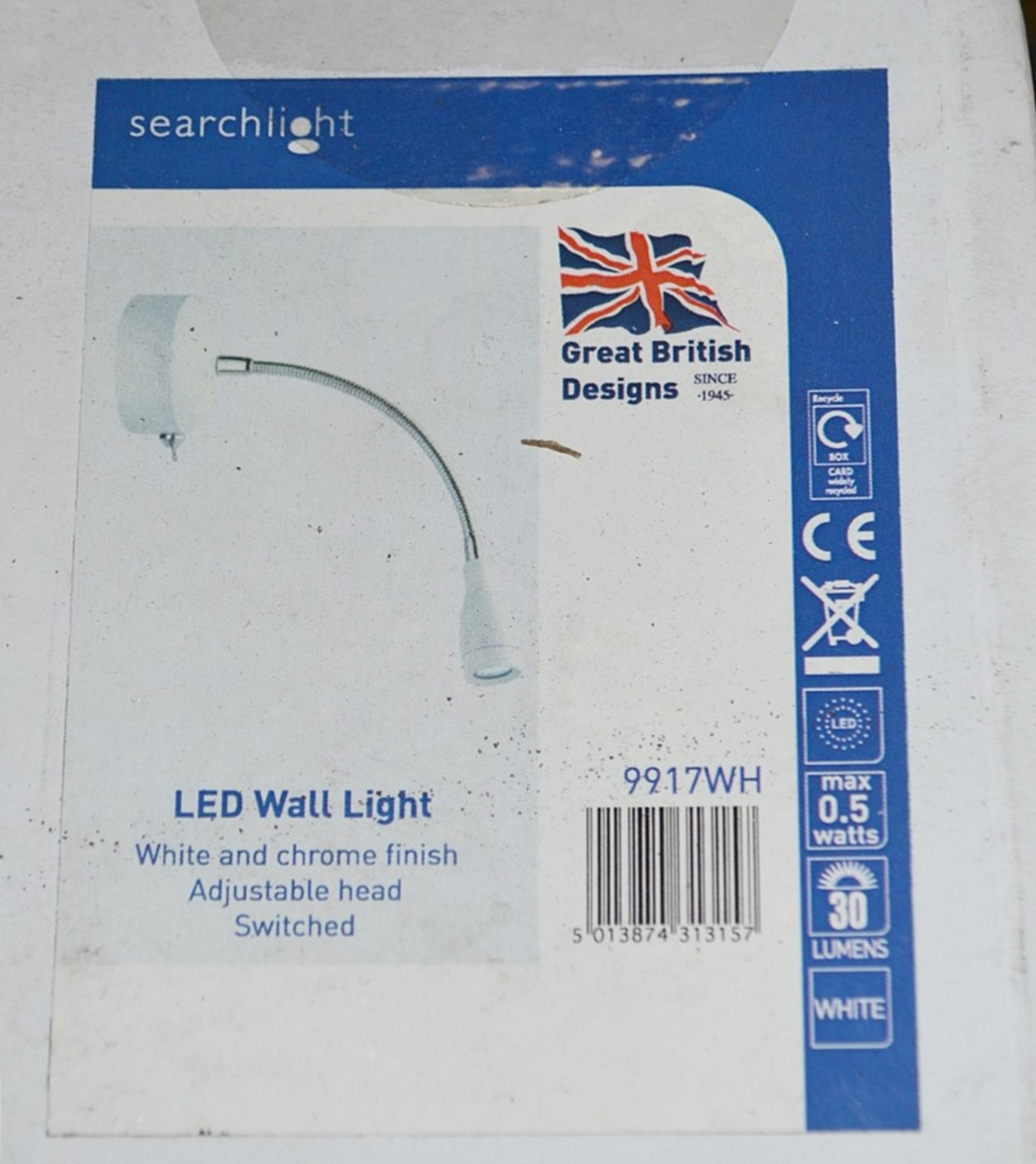 Lot 9078 - 5 x Searchlight LED Wall Lights Finished In White and Chrome - Brand New and Boxed - 9917WH - Ref: J