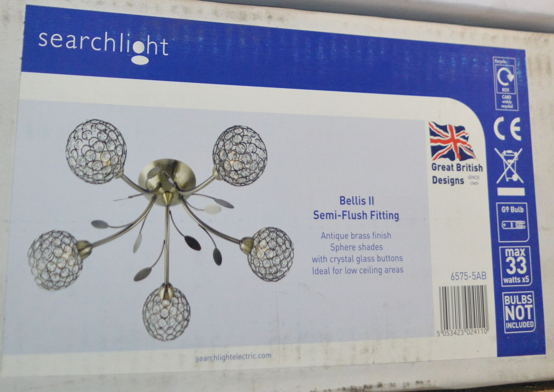 Lot 9108 - 1 x Searchlight Bellis II Semi Flush Ceiling Light Fittings in Antique Brass With Sphere Shades -