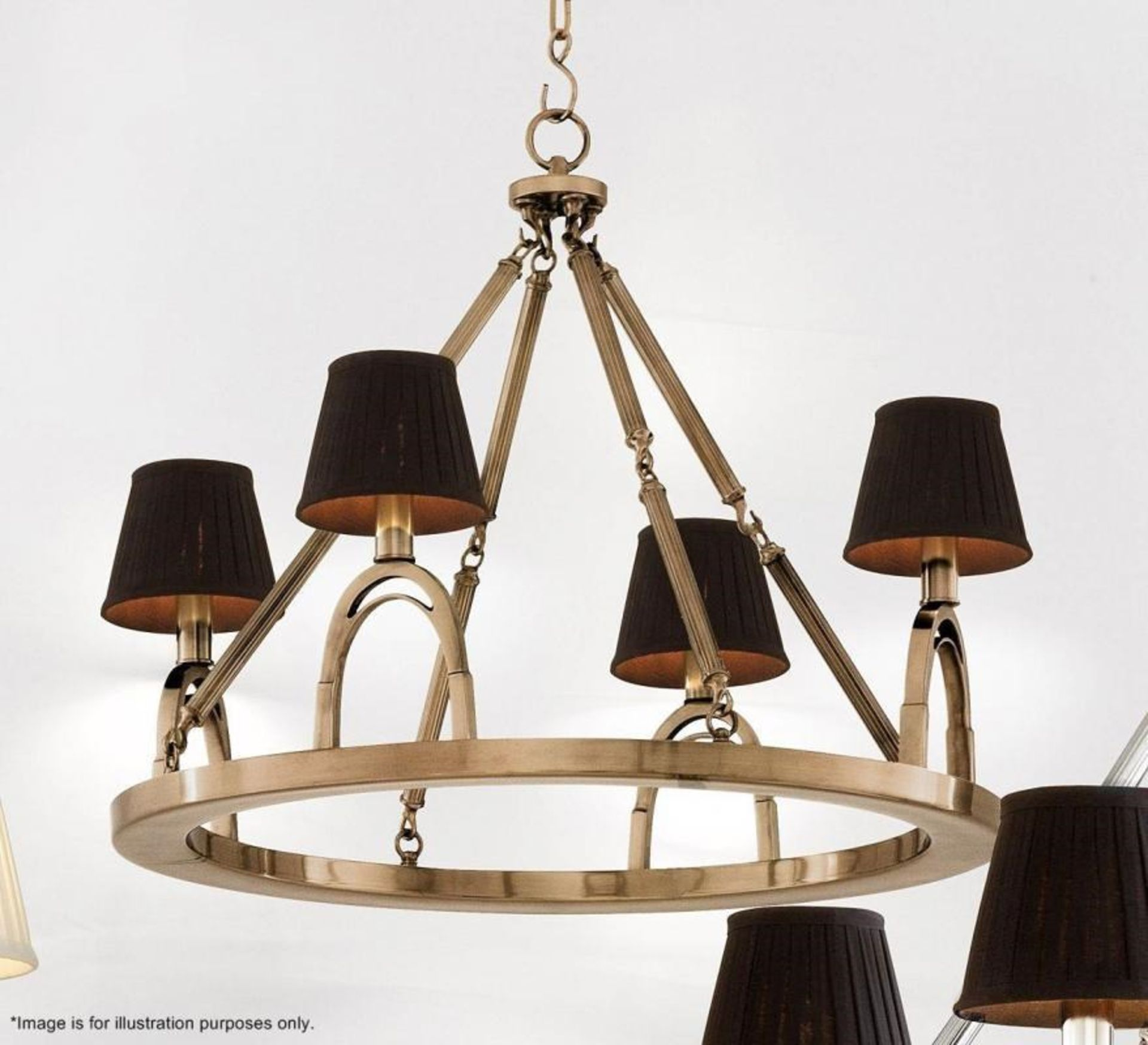 Lot 9225 - 1 x Eichholtz 'Jigger' Equestrian-inspired Chandelier With An Aged Brass Finish - RRP £1,385