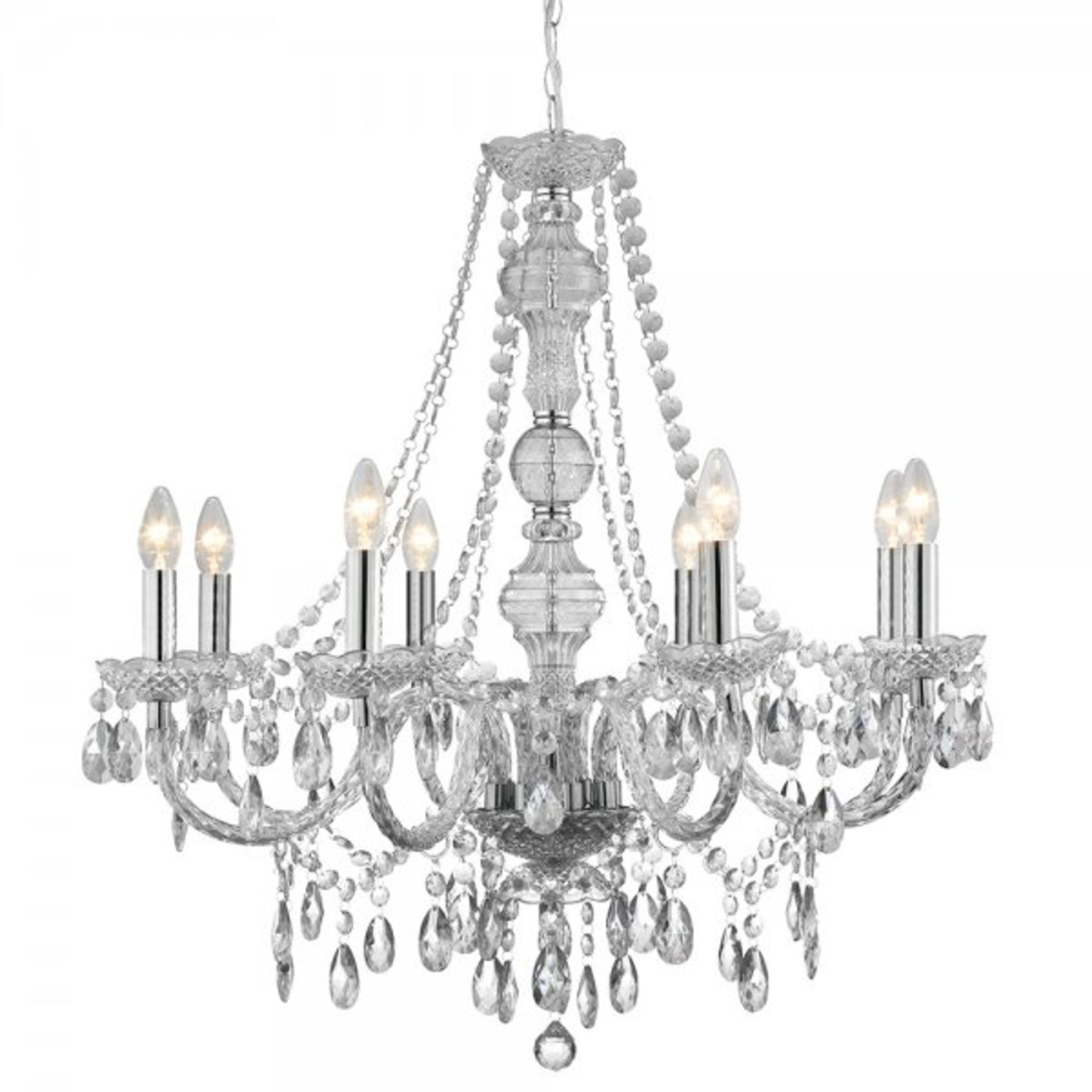 Lot 9138 - 1 x Searchlight Marie Therese Chandelier - Chrome Finish With Clear Trimmings - Product Code 8888-