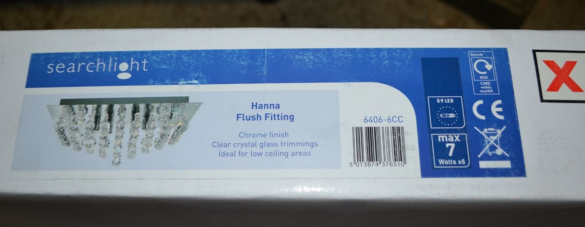 Lot 9050 - 1 x Searchlight Hanna Chrome 6-Light Square Semi-Flush With Crystal Balls - Product Code - New Boxed
