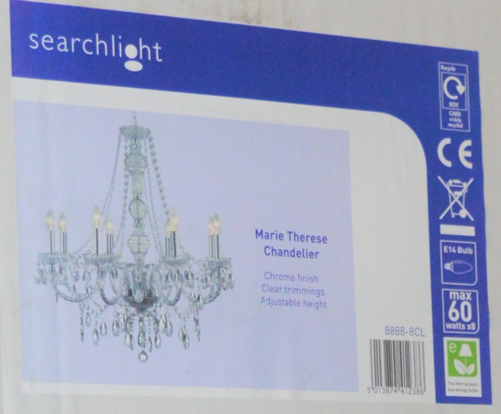 Lot 9134 - 1 x Searchlight Marie Therese Chandelier - Chrome Finish With Clear Trimmings - Product Code 8888-