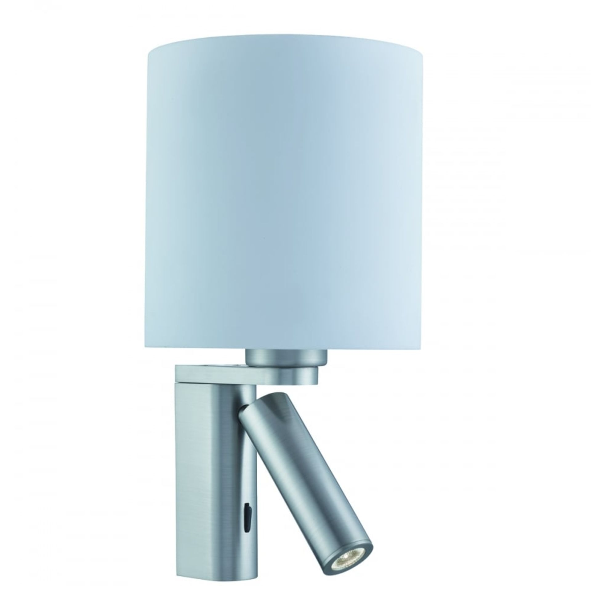 Lot 9046 - 2 x Searchlight LED Switched Wall Lights With Room Light, Reading Light, Glass Shade and Satin