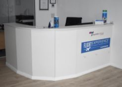 1 x Office Reception Counter With Curved Front and Two Workstations - H108 x W210 x D66 cms -