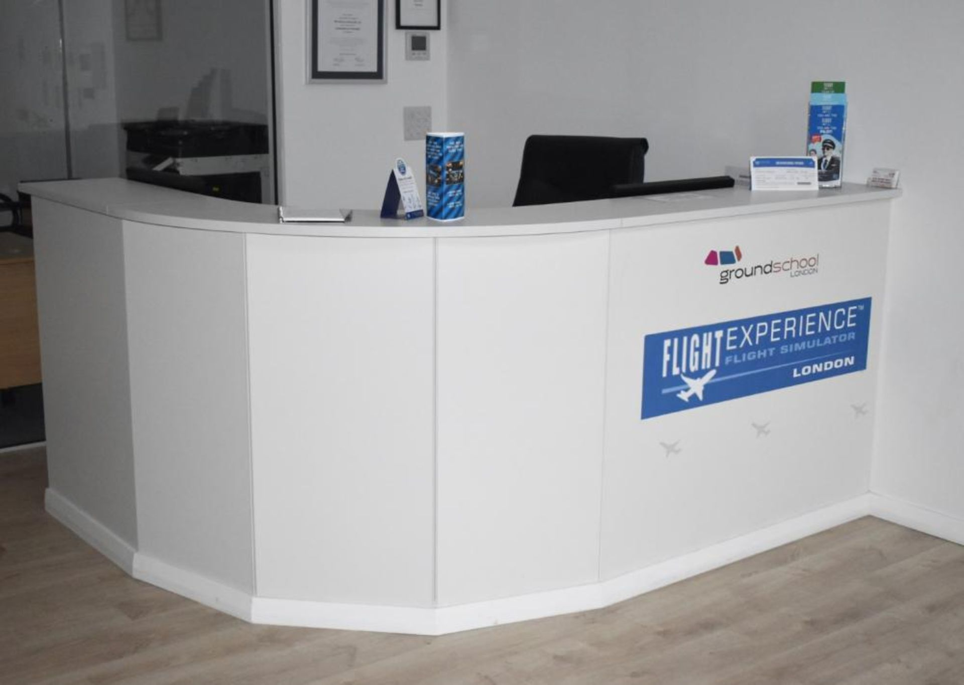 Lot 380 - 1 x Office Reception Counter With Curved Front and Two Workstations - H108 x W210 x D66 cms -