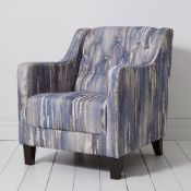 1 x Hampton Armchair by Clarke & Clarke - Latour Indigo Woven Fabric and Dark Wooden Legs - RRP £699