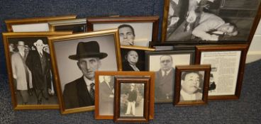 15 x Assorted Framed Pictures Of Bygone Gangsters / Mafia - Recently Removed From A Popular Theme