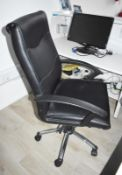 1 x Black Faux Leather Office Swivel Chair - CL490 - Location: Putney, London, SW15 Auction