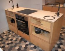1 x Freestanding Kitchen Unit With Miele Oven and Ceramic Hob, Mixer Taps With Sink Bowls, Pop Up Pl