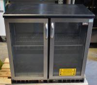 1 xGamko Two Door Glass Fronted Bottle Fridge in Black With Stainless Steel Door Case - Model
