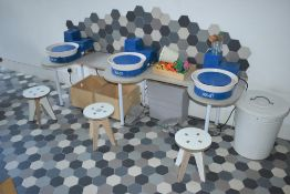1 x Potters Wheel Table With Stools and Waste Bin - Suitable For Upto Three Users - H50 x W205 cms -