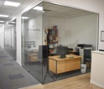 Axis Glass Office Partioning Panels - Includes 11 Panels and 2 Doors - CL489 - Location: Putney,