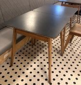 8 x Contemporary Restaurant / Cafe Tables - 70 x 70cm Wooden Tables With Black Vinyl Tops - Supplied