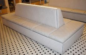 1 x Central Seating Banquette in a Contemporary Diamond Faux Grey Leather - Quality Build With Under