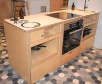 1 x Freestanding Kitchen Unit With Miele Oven and Ceramic Hob, Mixer Taps With Sink Bowls, Pop Up