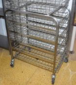 1 x Stainless Steel Basket Trolley With Lockable Castor Wheels and Five Chrome Wire Baskets - H100 x