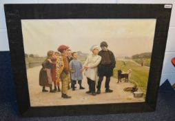 1 x Large Framed Canvas Art Print Featuring A Baker Boy And Urchins - Dimensions: W112 x H87 x