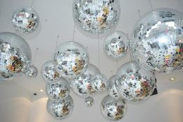 5 x Disco Mirror Glitter Balls - Ceiling Mounted - Will Include Various Sizes From Small to Large -