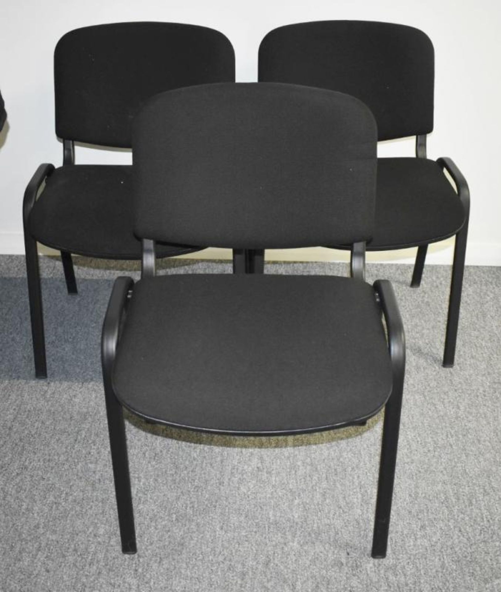 Lot 392 - 6 x Stackable Office Chairs Upholsted in Charcoal Grey Fabric - CL490 - Location: Putney, London,