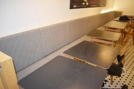 1 x Seating Banquette With Diamond Faux Leather Design Upholstery in Grey - Approx 25ft in