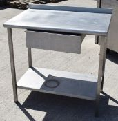 1 x Stainless Steel Prep Table With Upstand, Drawer and Undershef - CL282 - Ref CB361 H4D - H85 x